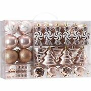 77-pack Assorted Shatterproof Christmas Balls Christmas Ornaments Rose Gold