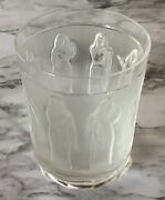 """Lalique France Femmes Antiques 4"""" Flat Tumbler Clear And Frosted Crystal Signed"""