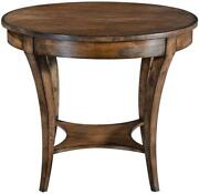 Center Table Holland Round Rustic Pecan Solid Wood Curved Tapered Legs Tier