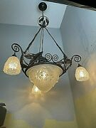 1920-30s French Art Deco Iron And Glass Chandelier