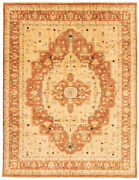 Vintage Geometric Hand-knotted Carpet 8and03910 X 12and0390 Traditional Wool Area Rug