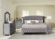 New Modern Upholstered Queen King 3/4/5pc Bedroom Set Tufted Gray Or Black
