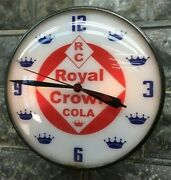 Royal Crown Cola Lighted Pam Clock Vintage Advertising Sign Bubble Glass