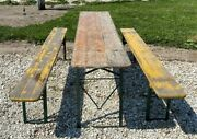 Wood Vintage German Beer Garden Table And Benches Oktoberfest Picnic Table C71
