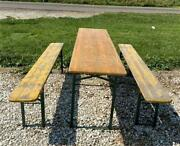 Wood Vintage German Beer Garden Table And Benches Oktoberfest Picnic Table C74