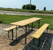 Wood Vintage German Beer Garden Table And Benches Oktoberfest Picnic Table C78