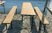 Wood Vintage German Beer Garden Table And Benches Oktoberfest Picnic Table D6