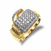 Jewelco London Mens 9ct Gold Cz Pave Boxing Glove Novelty Ring