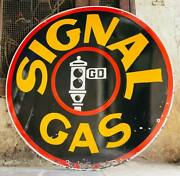 Vintage Porcelain Enamel Signal Gas 48 Inches Double Sided Sign