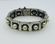 Antonio Pineda Taxco Vintage Mexican Sterling Silver And Pearl Modernist Bracelet