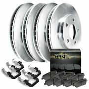 Fits Ford Lincoln F-150 Mark Lt Front Rear Blank Brake Rotors+ceramic Pads