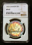 1972 Canada Silver 1 Voyageur Canoe Rainbow Toned Northern Lights Ngc Sp67