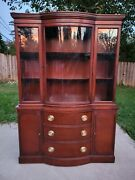 Drexel New Travis Court Antique Mahogany China Cabinet Curved Glass Bowfront