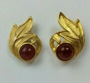 Vintage Pierced Earrings Gold Tone Renaissance Style Red Glass Center Stone