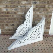 Pair Beautiful Large Hand-carved Wood Pediments Corbels Victorian Antique Style