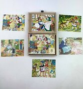 Vintage German Hermann Eichhorn Wooden Cube Fairy Tale Puzzle In Wooden Box
