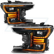 Fits Ford F150 2018-up Headlamps Replacement Led Black Headlight Left+right Side