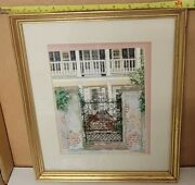 11 X 14 Vintage Cross Stitched Or Needlepoint Charleston Or New Orleans Framed