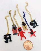 Vintage Lot Of 6 1920's Kobe Japan Celluloid Charms Pop Out Eyes Prizes Colors