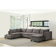 Lilola Home Madison Light Gray Fabric 7 Piec Modular Sectional Sofa Chaise With