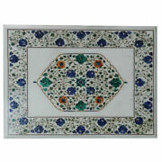 24x18 White Marble Table Top Coffee Center Inlay Lapis Mosaic Home Decor Q3