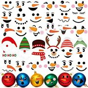 58 Pieces Snowman Decals Pvc Face Stickers Christmas Wall Decor Stickers Glass