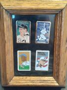 4 Rare Commemorative Professional Baseball Gold Stamp Pins B. Ruth, R. Clemente.