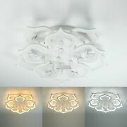Modern Crystal Chandeliers Dimmable Acrylic Ceiling Light Fixture W/ Remote Usa