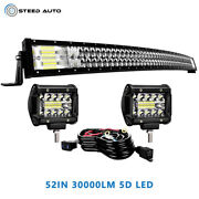 Fit Chevy 1500 Silverado Hummer H1 H2 H3 52and039and039 Curved Led Light Bar +4and039and039 Fog Cube