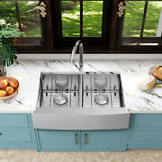 30/33'' Stainless Steel Farmhouse Kitchen Sink Single/double Bowl With Faucet