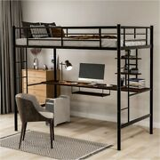 Loft Bed With Desk And Shelf Space Saving Design Twin Black Stainless Steel