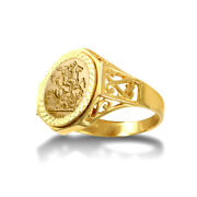 Jewelco London 9ct Gold Octagon Scroll St George Ring 10th Kruger Size