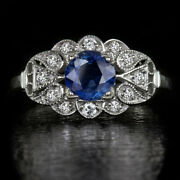 Vintage Art Deco Cocktail Engagement Ring 14k White Gold Over 1.72 Ct Sapphire