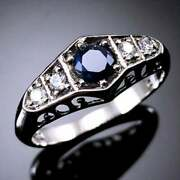 Perfect Art Deco Vintage Engagement Ring 1.1ct Blue Sapphire 14k White Gold Over