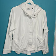 Cabi Womens Size Large Hooded Terry Jacket Style 5102 Zip Front Euc