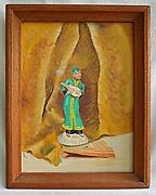 Folky Chinese Allegorical Vintage Painting Original Musician Fan Furry Chase