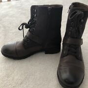 Abeo Womenand039s Pro Dayton Ankle Boots Brown Leather Sz 9 Strap Lace Up Side Zipper