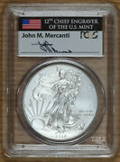 2012 W Burnished Silver American Eagle Pcgs Ms70 Mercanti Signed