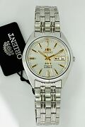 Orient Mens Automatic Movt 3 Star Watch Silver Tone White Dial Fab0000dw9 New