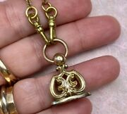 Antique Fob W Handmade Pocket Watch Chain Necklace 17 Gold Fill/ Gold Tone 2