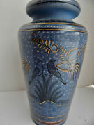 Antique Mexican Pottery Burnished 12'' Vase--rare ''night''style. 1930's