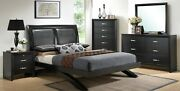 5pc Queen Size Upholstered Bed Dresser Mirror Nightstand Set Transitional Style