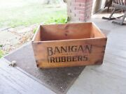 Vtg Large Antique 1900and039s Banigan Rubbers Shoes Advertising Wood Crate Box Signs