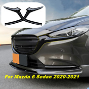For Mazda 6 Atenza 20-21 Glossy Black Front Grill Barbecue Side Strip Cover Trim