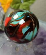 1.51 🩸🔪killer Black And Red -- Gold And Silver Swirl New Studio Art Glass Marbles