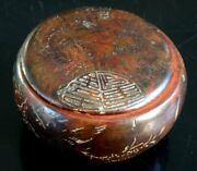 Ancienne Boite Laque Gravandeacutee Chine Old Laquer Box Chinese Mark Signed Xix