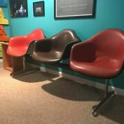Vintage Mcm Retro 3 Seat Tandem Shell Chair By Charles And Ray Eames Herman Miller