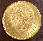 1959 Mexican Veinte Pesos Gold Coin - 15 Gr. Pure Gold In Excellent Condition