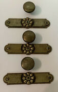 3 Vintage Brass Cabinet Door Handles Pulls With Backplates, Screws And Set Pins