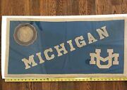 A Rare Early University Of Michigan Felted Wool And Leather Pennant/flag/banner